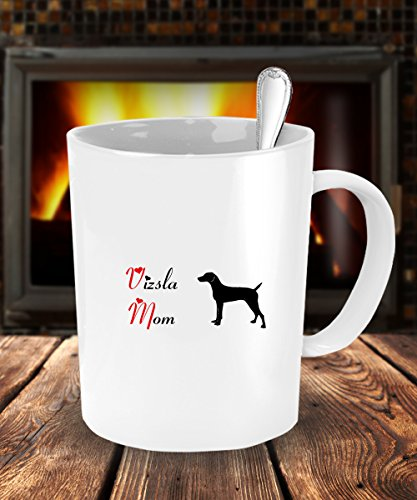 Dog Lover Gifts For Mom - Vizsla Dog White Coffee Mug - 15 oz Tea Cup - Ceramic - Dog The Bounty Hunter Costume Wife