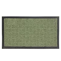 JVL Firth Carpet Rubber Backed Entrance Door Mat, Plastic, Green, 40 x 70 cm
