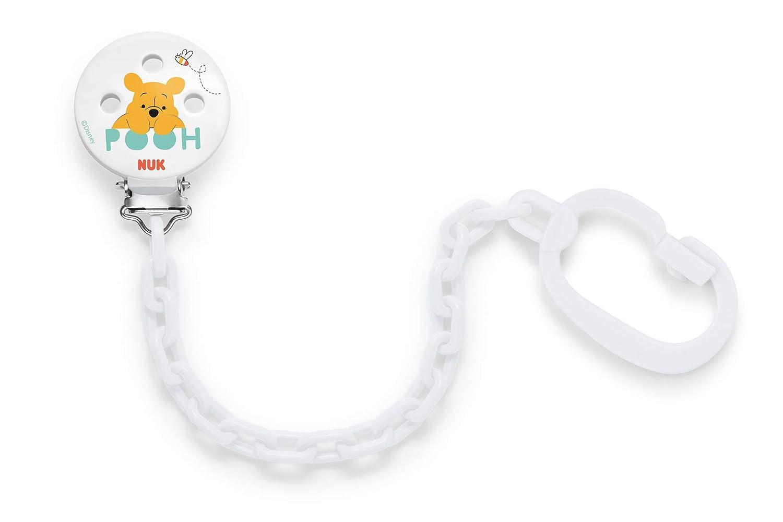 NUK Disney Winnie Cadena para chupete con clip para una fijación segura del Chupete Baby sa la ropa, 1 pieza, blanco