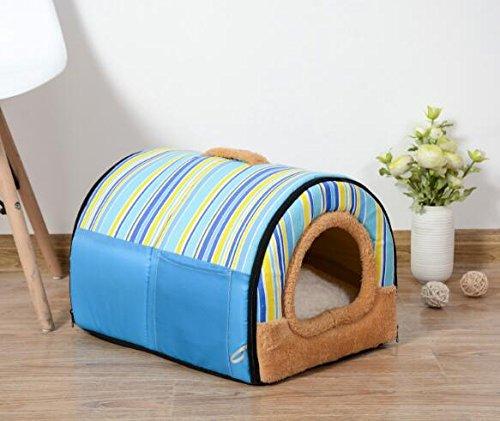 Cat Warmer Mat Four Seasons Universal Kennel Cat Nest Pet House bluee Rainbow Strip