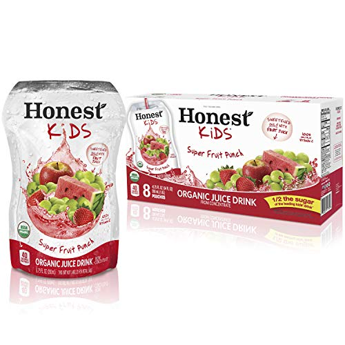 Honest Kids Super Fruit Punch Organic Fruit Juice Drink, 6.75 fl oz, 8 Pack (Kids Organic Juice Boxes)