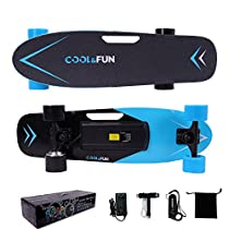 Cool&Fun Electric Skateboard 150W Elettrico Longboard Hotspot Nero con Telecomando Senza Fili