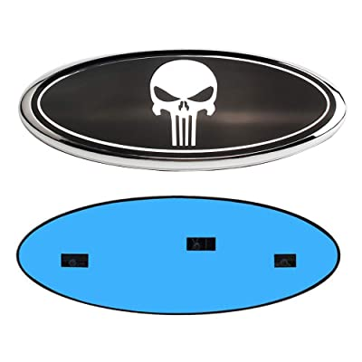 "Carstore 2004-2014 F150 Front Grille Tailgate Punisher Emblem, Oval 9""X3.5"", Black Decal Badge Nameplate Fits for Ford 04-14 F250 F350, 11-14 Edge, 11-16 Explorer, 06-11 Ranger (Silver): Automotive"