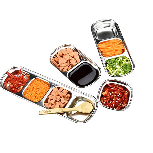 Drizzle Sauce Dish Stainless Steel Soy Tomato Sauce Salt Vinegar Sugar Spices Flavor Condiment Dip Bowls Korean BBQ Home Kitchen Plates (Three squares(3pcs))
