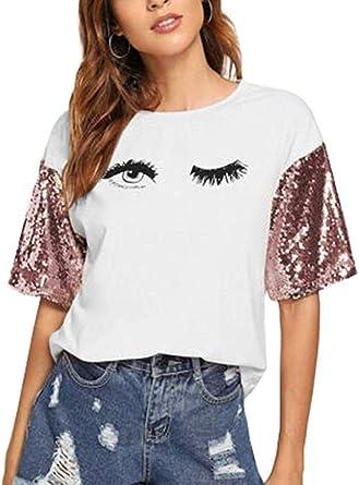Carolilly Camisetas Mujer Manga Corta Camisetas de Niña de Verano con Lentejuelas Estampado Ojos T-Shirt Moda Blanco Rojo Rosa Negro: Amazon.es: Ropa y accesorios