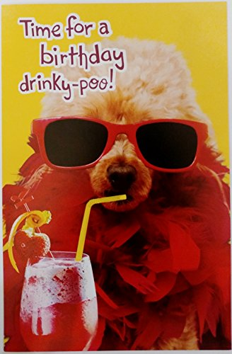 Poodle Note Card (Time for a Birthday drinky-poo! w/ Party Poodle Dog Greeting Card