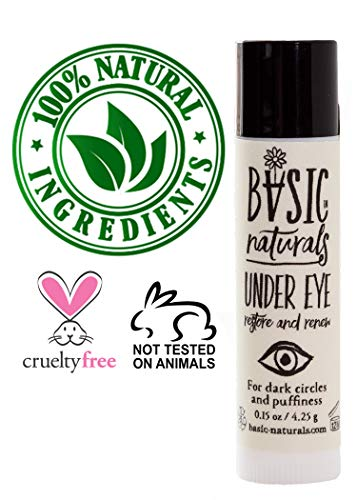 Basic Naturals Under-Eye Brightening Cream - Anti-Aging Organic Skin Care Treatment with Rosehip Oil, Vitamin E and Beeswax- Hydrating Day and Night Formula for Dark Circles, Patches - 0.15oz Stick