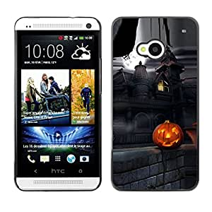 HTC One M7 - Metal de aluminio y de plástico duro Caja del teléfono - Negro - Halloween Creepy Haunted House