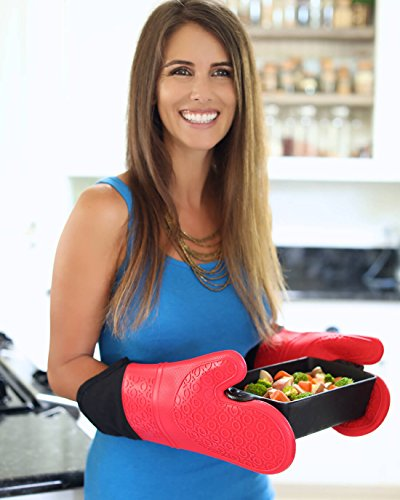 Extra Long Professional Silicone Oven Mitt - 1 Pair - Oven Mitts with Quilted Liner - Red - Homwe by HOMWE (Image #6)