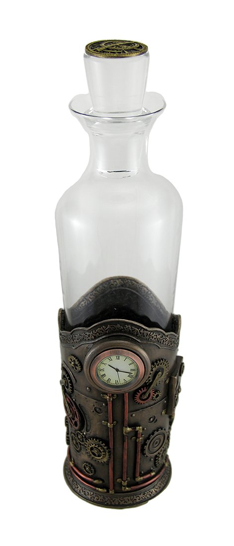 Resin And Glass Liquor Decanters Time For Spirits Glass Spirit Decanter In Steampunk Basket With Clock 5 X 13.5 X 3.5 Inches Bronze UNICORN STUDIOS