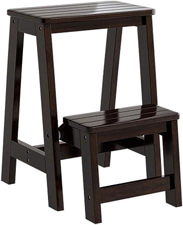Taburete de 2 escalones Taburete simple Escalera de escalera Escalera de baño Taburetes de baño Escalera plegable de doble uso Escalera de madera Taburete de dormitorio con almacenamiento (negro): Amazon.es: Hogar
