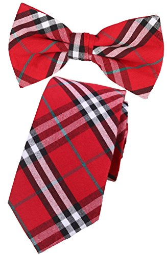 Flairs New York Flannel and Tweed Collection Neck Tie (Christmas Red / Black / White (Christmas Plaid Bow Tie)