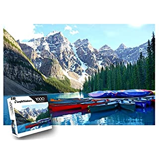 "LogikThinkers 1000 Piece Adult Puzzle - National Park Lake Moraine Mountain Landscape - High Resolution Picture Built with Durable Materials - Kids 8 Up - Puzzle Size 27"" x 20"""