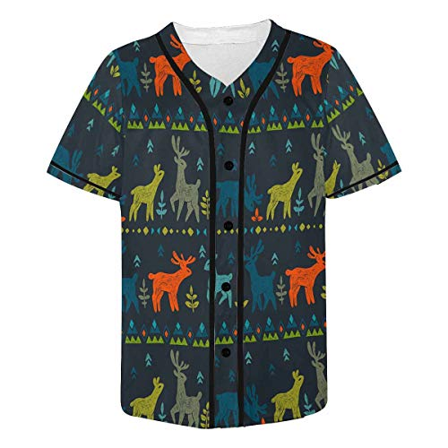 (InterestPrint Men's Wild Animal in Forest Cute Deers, Floral and Tribal Ornamental Baseball Jersey Button Down T Shirts Plain Short Sleeve 4XL)