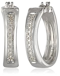 Sterling Silver Diamond Oval Hoop Earrings (0.08 Cttw, I-J Color, I2-I3 Clarity)