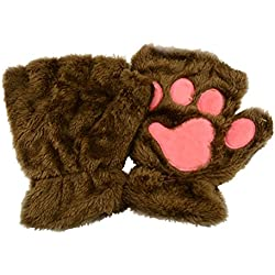 Tinksky Winter Women Cute Cat Claw Dog Paw Plush Mittens Short Fingerless Gloves Half Finger Gloves Christmas Gift (Deep Coffee)