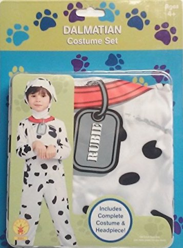 Dalmation Costume Set Size 4-6 Comfy One Piece with Hood Ears and Dog Tag Imprint Halloween Hit! (Dalmation Halloween Costumes Kids)