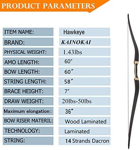 KAINOKAI 60 Traditional Hunting Longbow,Hunting Recurve Archery Bow,Recurve Bow Set 20lbs-50lbs