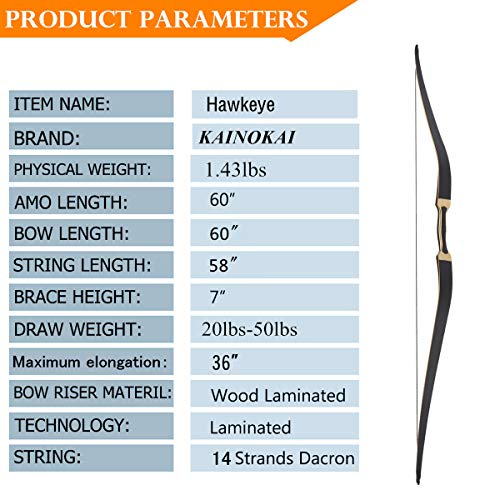 KAINOKAI 60'' Traditional Hunting Longbow,Hunting Recurve Archery Bow,Recurve Bow Set (20lbs-50lbs) (Hawkeye, 50lbs)