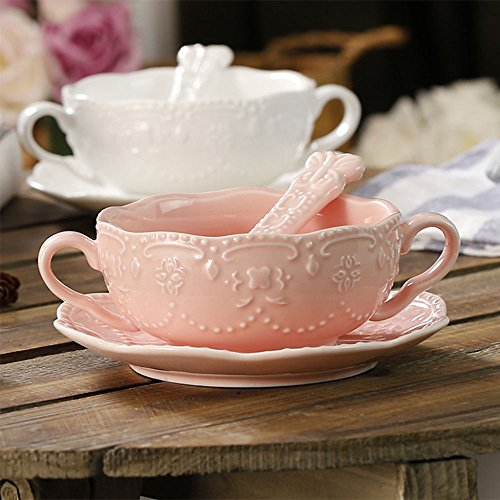 Pink Floral Soup Bowl - NDHT Elegant Cute Breakfast Cup Dessert Bowls Soup Mug With Saucer and spoon,300ml,pink