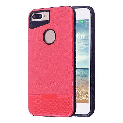 iPhone 7 Plus Funda, Caso iPhone 8 Plus, Moon mood 2 en 1 Suave TPU + Duro PC Cubierta Trasera para Apple iPhone 7 Plus/8 Plus 5.5 pulgada Textura de Tela Diseño Parachoque Ultra Delgado Anti-Rasguño  Rojo