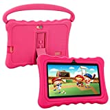 Kids Tablet, HENGKE 7 inch Tablets for Kids Google Android 5.1 with Handle Silicone Case,IPS Display Screen,1GB+8GB,Wi-Fi,Bluetooth (Pink)