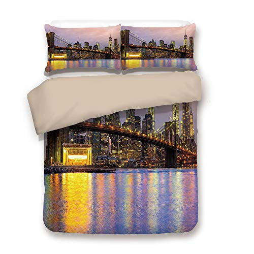 iPrint Duvet Cover Set,Back of Khaki,Modern,Sunrise Time at Manhattan Silhouette with Dramatic Lights New York Scene,Baby Pink Lilac Yellow,Decorative 3 Pcs Bedding Set by 2 Pillow ()