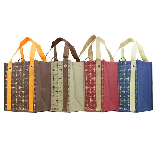 Versailles - Fleur De Lis - Graphic Print Grommet Reinforced Reusable Grocery Tote Bags - Set of 4 - Grocery Bag Totes