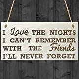 Red Ocean I Love The Nights I Cant Remember With The Friends Ill Never Forget Friendship Gift Hanging Wooden Plaque Best Friends Sign by Red Ocean