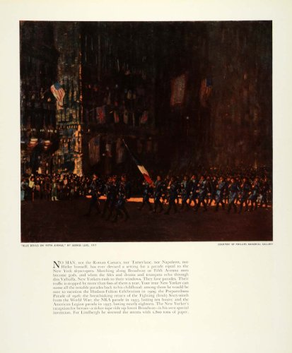 1939 Print George Luks Fifth Avenue New York Parade Art Broadway Lindbergh NRA - Original Color Print