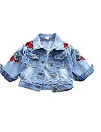 Baby Girl's Denim Jacket With Rose Flower Embroidery,Toddler Ripped Denim Coat