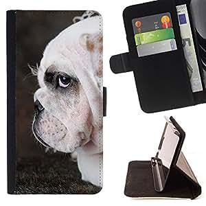 KingStore / Leather Etui en cuir / Samsung ALPHA G850 / Bulldog Inglés Perro arrugado británica