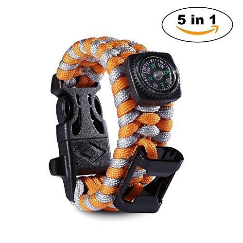 Paracord Survival Bracelet 500 LB with Bottle Opener – Knife Scraper – Whistle – Flint Fire Starter – Compass – Tactical and Survival Gear Kit – Perfect for Hiking, Camping, Fishing and Hunting