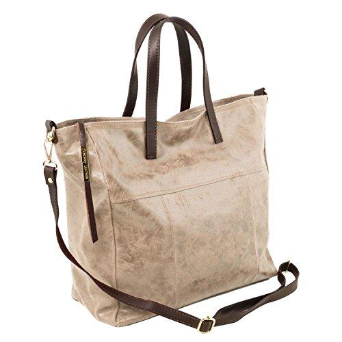 Tuscany Leather Annie TL SMART Shopping Tasche aus Leder im Antikeffekt Rot Hell Taupe