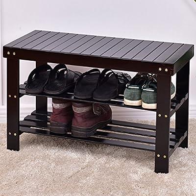 New MTN-G 3 Tier Bamboo Shoe Rack Bench Storage Shelf Organizer Entryway Home Furni Black