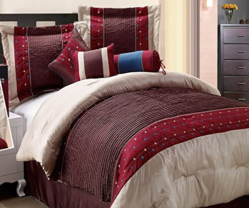 City Embroidery Pleated Comforter Set, KING, Dark Chocolate Burgundy , 7 Pieces