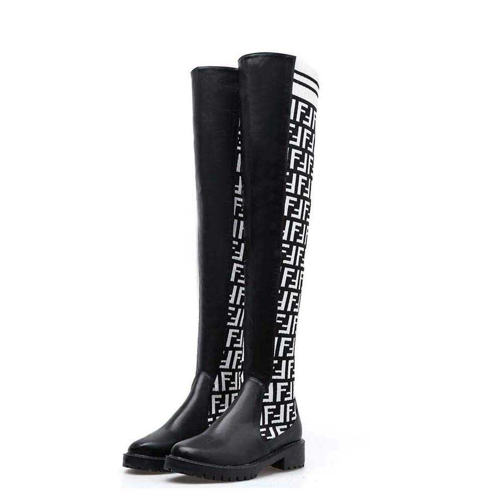 White Thigh High Boot Knight Boot Women Fashion Round Toe 4Cm Chunkly Heel Knitting color Stovepipe Stretch Boots Dress Boot EU Size 34-40