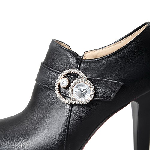 Ladies Shoes Pumps Zipper Imitated Glass Diamond Buckle Black BalaMasa Leather ad6PqHqx