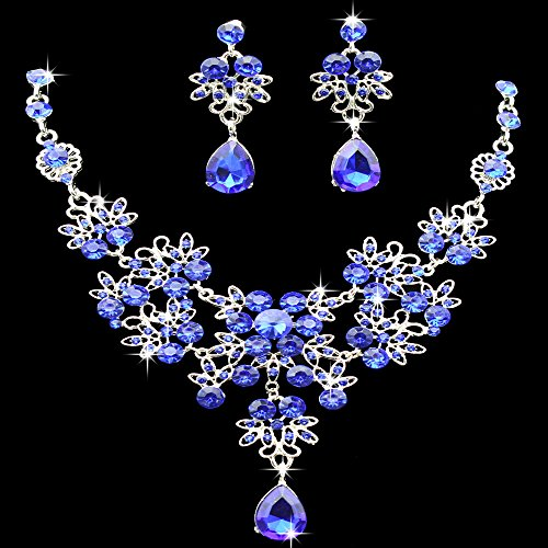 (Gbell Clearance! Charm Wedding Bridal Crystal Necklace Earrings Jewelry Set Fine Rhinestone Women's Prom Jewelry Statement (Blue))
