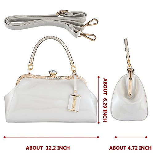for White Bags Evening Party Patent Leather Shell Women's Handbag Glossy Bagood Clutches Shoulder Zvn7zp