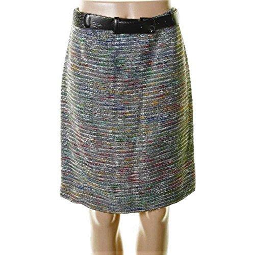 Belted Tweed Skirt - TAHARI ASL $99 Womens FRANNY Multi Color Tweed BELTED Pencil Skirt SZ 4P NWT