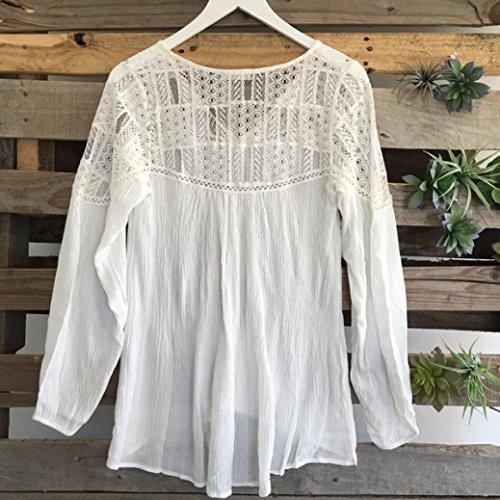 FEITONG Las mujeres de manga larga La gasa del cordón del ganchillo de la blusa T tapas de la camisa Blanco