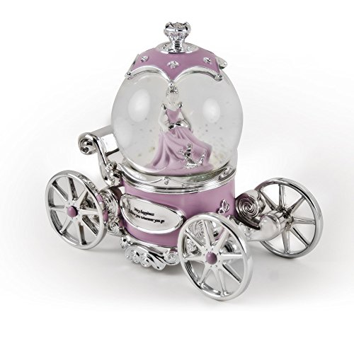 Extraordinary Pink and Silver Fairy Tale Princess Snow Globe Musical Carriage - Over 400 Song Choices - Tiger Rag - Swiss ()