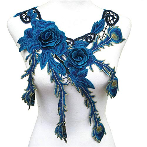 (Blue Navy Embroidered Lace Neckline Collar Warm Tones Floral Brown Leaf Applique Patches Scrapbooking Embossed Sewing )
