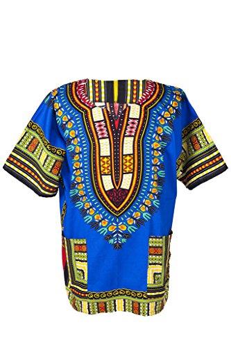 Mens Clothing 1970s (Lofbaz Traditional African Print Unisex Dashiki Size L Dark Blue)