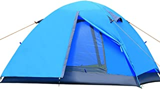 Enolla 1–2personnes Double couche Tente de camping pliant coupe-vent anti-humidité tourisme Beach Camping, Bleu