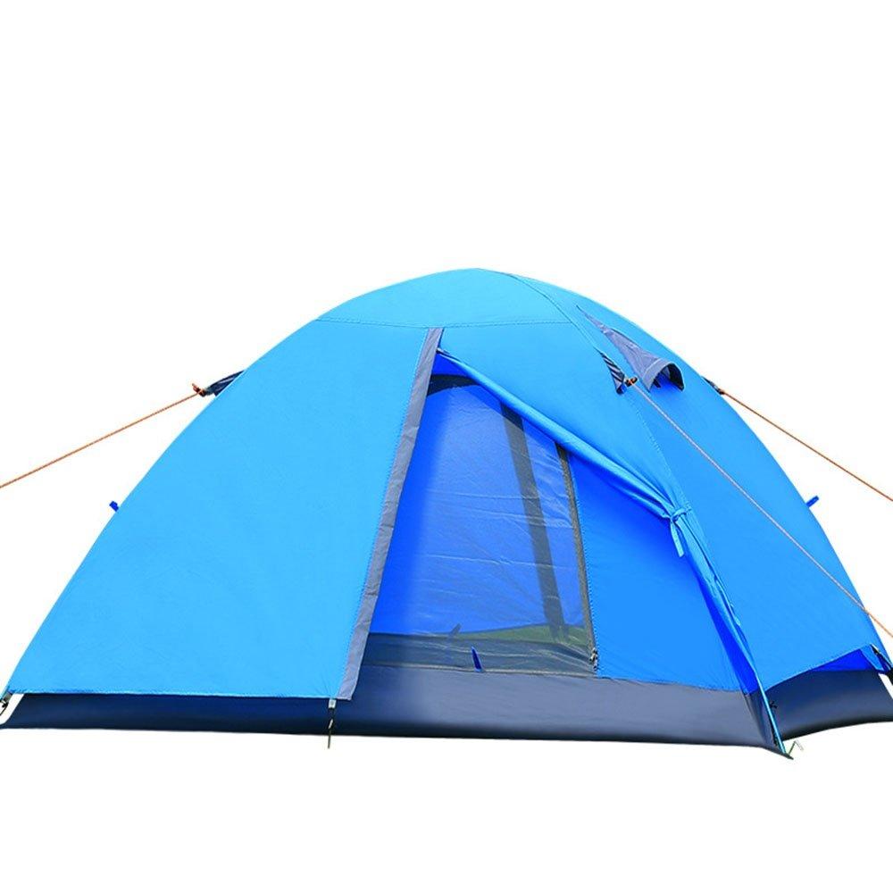 Enolla Tienda de campaña plegable para 1 o 2 personas, doble capa, resistente al viento, a prueba de humedad, turismo, playa, camping, azul