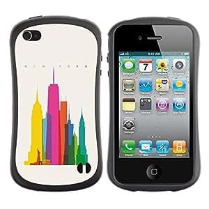 """Pulsar iFace Series Tpu silicona Carcasa Funda Case para Apple iPhone 4 / iPhone 4S , Ciudad colorida Art Rascacielos Poli Arte"""""""
