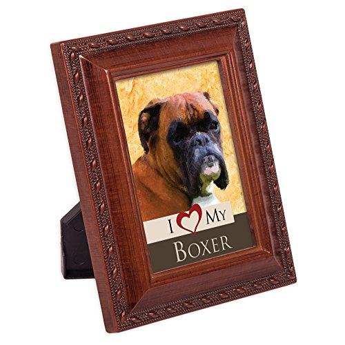 Cottage Garden I Love My Boxer 2x3 Photo Woodgrain Finish Frame Easel Magnet Dog Breed Photo Picture Frame