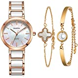 MAMONA Women's Watch and Bracelet Gift Set Rose Gold Stainless Steel and White Ceramic L3876RGGT